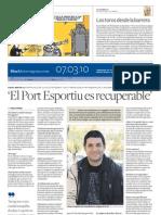 06.03.10 - Diari de Tarragona - Entrevista Xavi Moya / SOS Tgn, Patrimoni de l'Avorriment