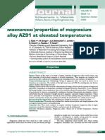 Mechanical Properties of Magnesium Alloys AZ91