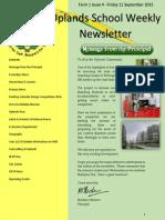 Uplands School Weekly Newsletter - Term 1 Issue 4 - 11 September 2015