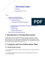 Free Nursing Dissertation Topics