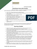 SIF Pipe Stress Checklist