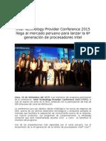 Intel Technology Provider Conference 2015 llega al mercado peruano para lanzar la 6ª generación de procesadores Intel