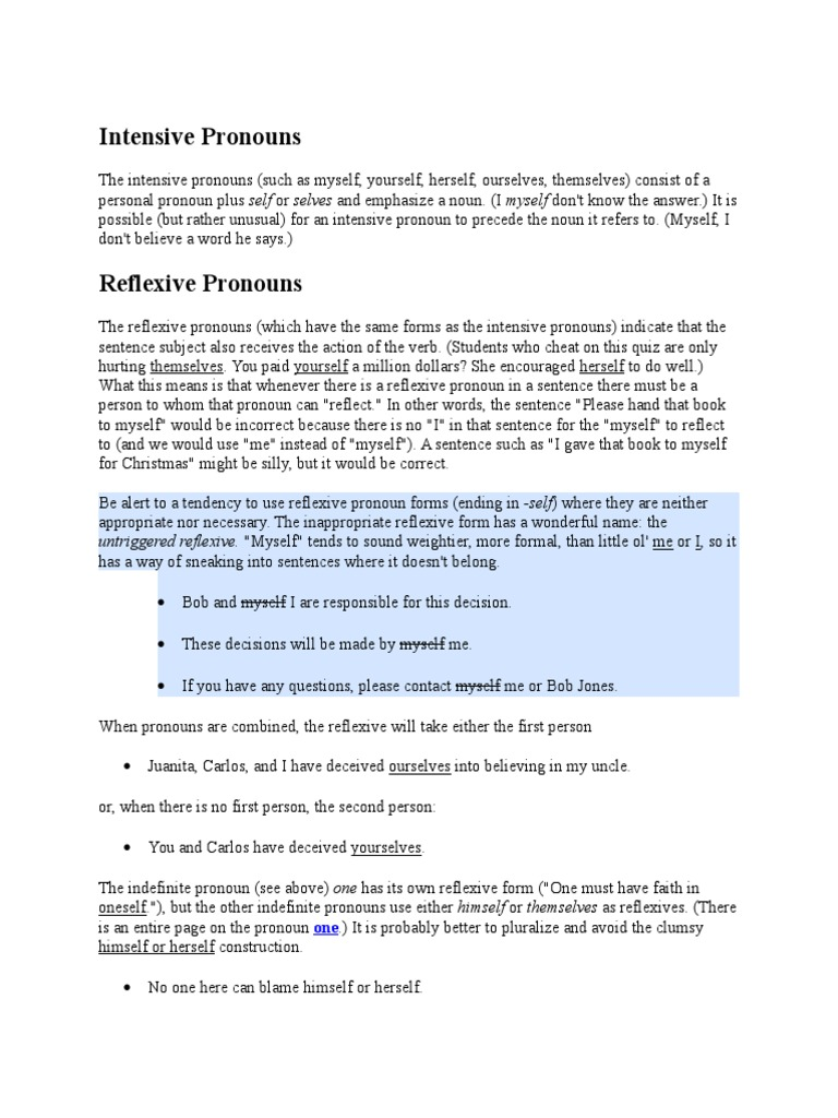 worksheet Reflexive And Intensive Pronouns Worksheet intensive pronouns pronoun onomastics