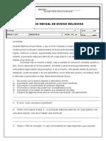 Avaliação Mensal de Ensino Religioso 8 Ano 2
