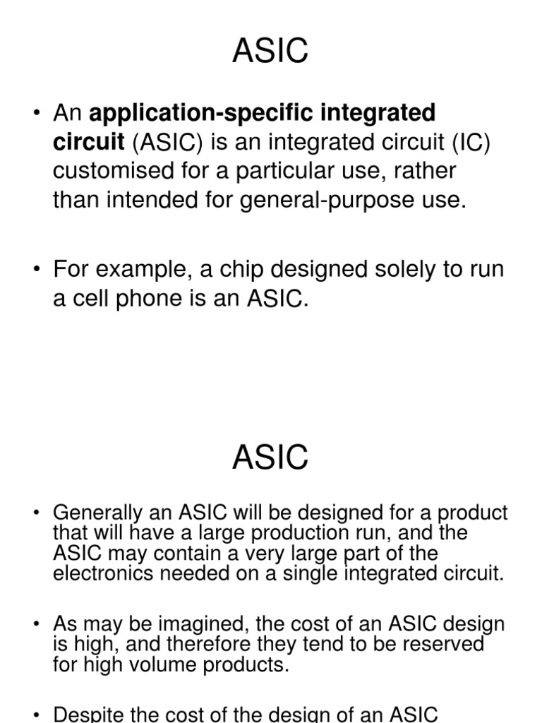 Asic Integrated Circuit Electronic Circuits Uses Of