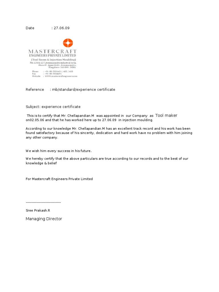 Experience certificate format behavioural sciences psychology experience certificate yadclub Images