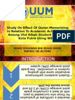 Study on Effect of Quran Memorizing in Relation to Academic Achievement Among Ulul Albab Student at MRSM Kota Putra Using WEKA