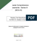 mca-iii test specifications reading grades 3-8 10  1