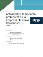Actividades de Impacto Ambiental en La Empresa Tableros Peruanos S
