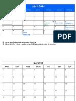 Eben - Ezer - Calendario Abril