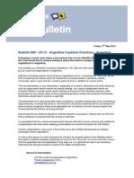 Bulletin 888 ARGENTINE CUSTOMS PRACTICES - FINE 2013 05 17 UK P&I