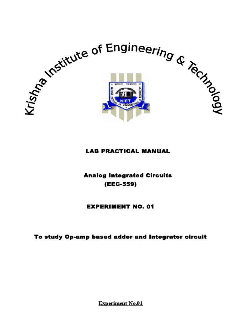 Op Amp Adder And Intregator Operational Amplifier Circuit Integrator