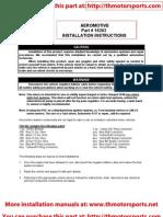 Aeromotive Part# 16303, Installation Instructions, fuel pump
