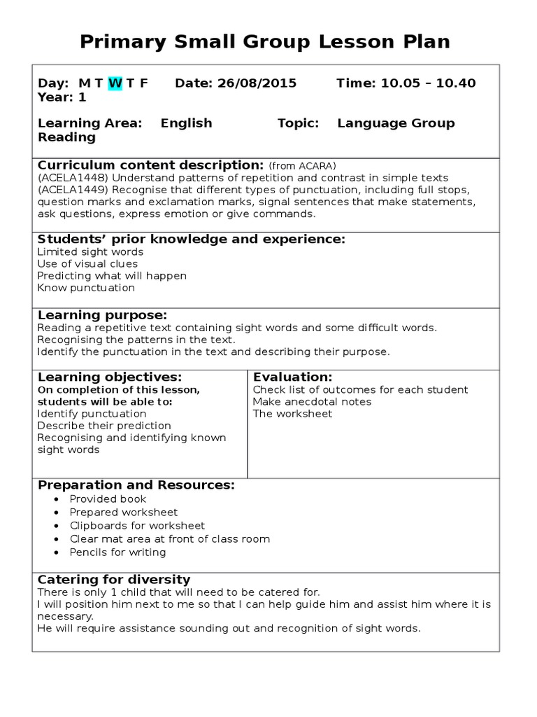 Primary Small Group Lesson Plan Punctuation Lesson Plan