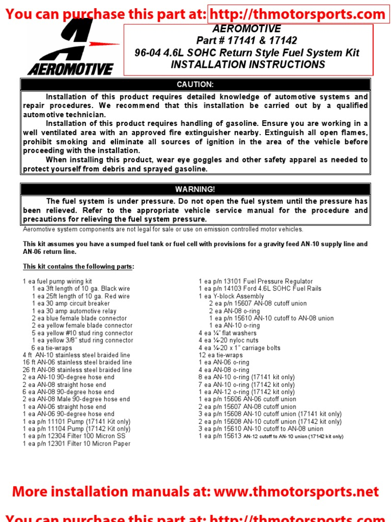 Aeromotive Installation Instruction Manual Part 17141 17142 Greddy Turbo Timer Wiring Diagram Fuel Injection Electrical Connector