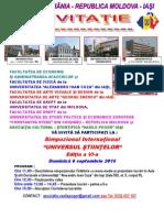 1. Invitatia La Simpozionul International Universul Stiintelor - Editia a VI-A Din 6 Sept 2015