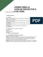 Instrucciones Para La Elaboración de Proyectos e Informes de Tesis