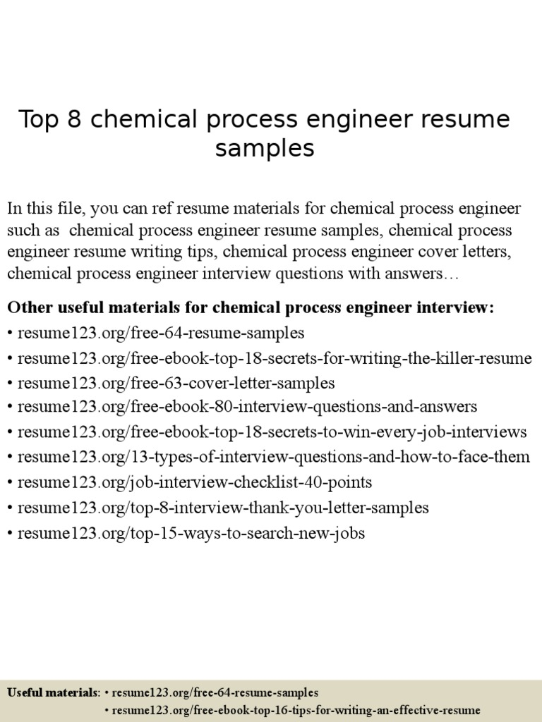 Chemical process engineer resume samples rsum engineer madrichimfo Images