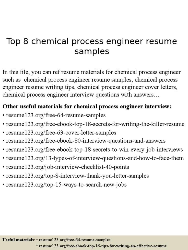 chemical process engineer resume samples résumé engineer