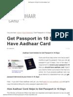 Get Passport in 10 Days if You Have Aadhaar Card