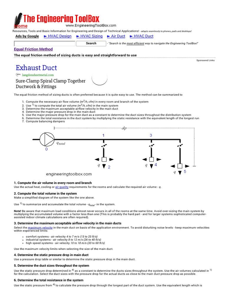 Duct Pressure Drop Calculator