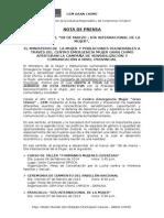 Nota de Prensa 08 de Marzo