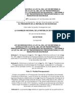 Ley No. 571 Transferencias Municipales Reforma