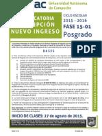 Convocatoria Inscripción Nuevo IngresoPosgrado2015