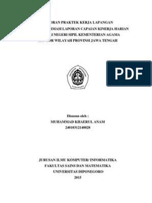 Laporan Praktek Kerja Lapangan Sistem Informasi