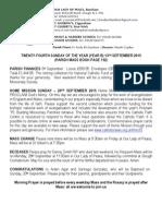 13th September 2015 Parish Bulletin