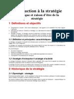 Chapitre  - Introduction a La Strategie
