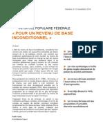 Initiative Pour Un Revenu de Base Inconditionnel Suisse Dossier Pour Parlementaires
