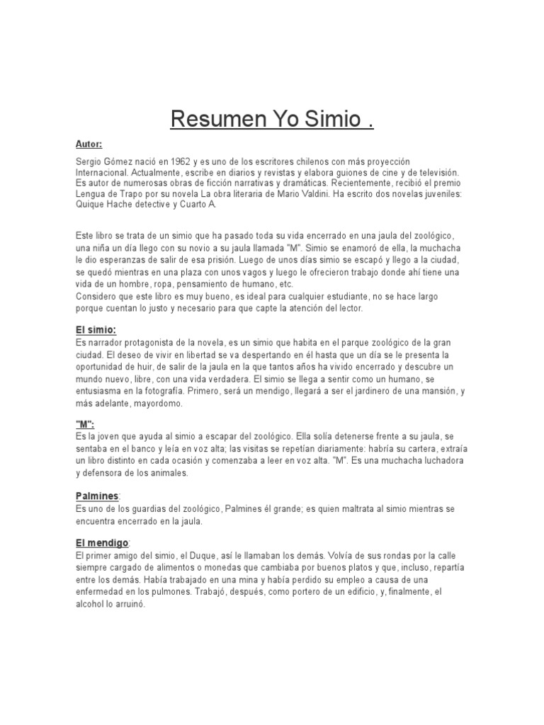 Resumen Yo Simio