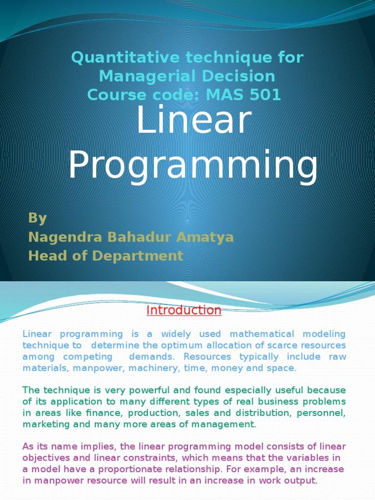 linear programming in quantitative techniques
