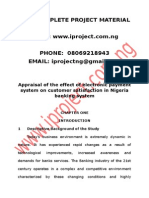 Appraisal of the Effect of Electronic Payment System on Customer Satisfaction in Nigeria Banking System