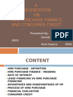 Hire Purchase finance and consumer credit