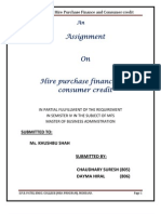 aasignment on Hire Purchase finance and consumer credit