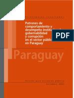 Patrones de comportamiento y desempeño institucional, gobernabilidad y corrupción en el sector público en Paraguay