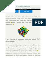 Belajar Rubik 3x3 Untuk Pemula
