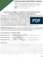 Convocatoria a Postulantes de Administrador de Consorcio