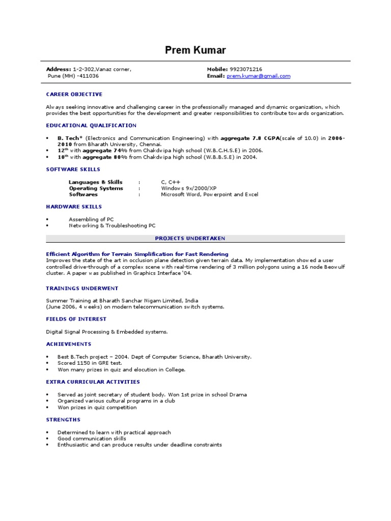 fresher resume sample - Bsc Computer Science Resume Doc