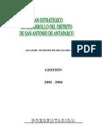 Plan de Desarrollo Antaparco 2003-2012.