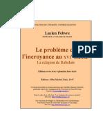 Febvre Lucien L'lincroyance Au XVII Siecle