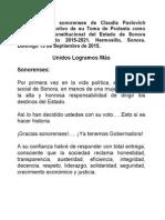 13-09-15 Mensaje de Gobernadora Claudia Pavlovich a Los Sonorenses