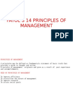 FAYOL'S 14 PRINCIPLES OF MANAGEMENT PPT