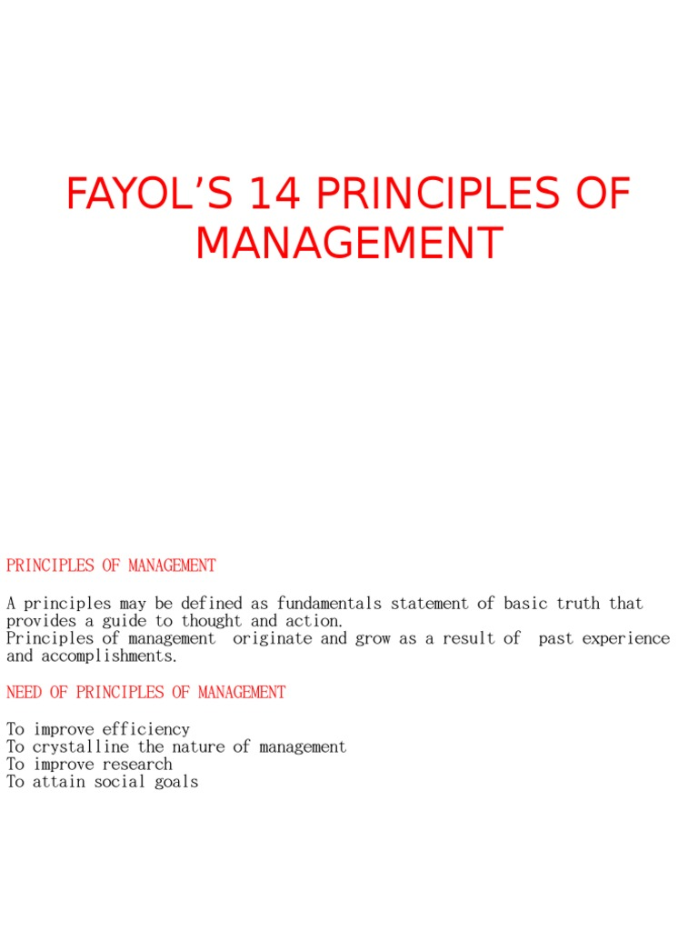 FAYOL'S 14 PRINCIPLES OF MANAGEMENT PPT | Employment (35K views)