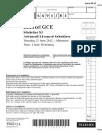 June 2012 QP - S3 Edexcel