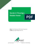 Secrets in Choosing a Reliable Vendor