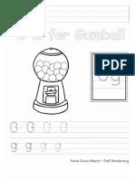 Gg PreK Handwriting