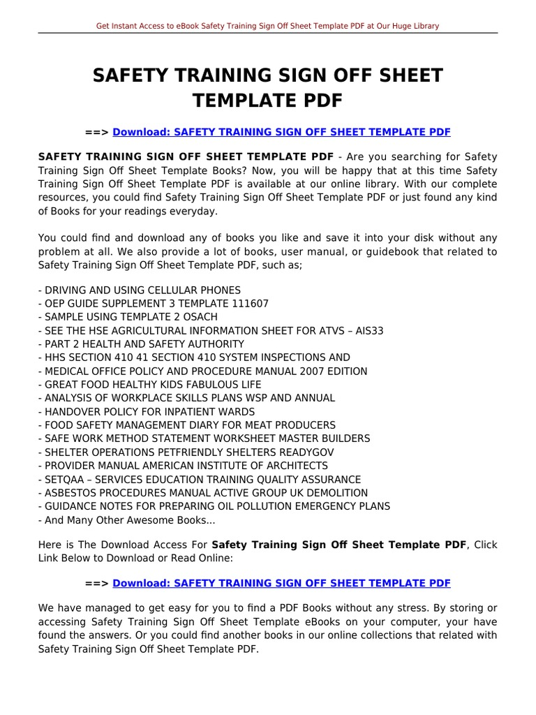 Safety Training Sign Off Sheet Template   E Books   Portable ...